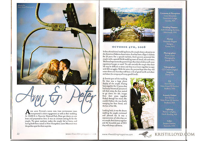 Ann and Peter's wedding in New Hampshire Wedding Magazine